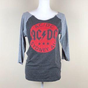 AC/DC | Rock Band Tee Baseball T-shirt Grey Gray